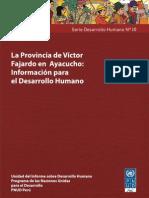 La provincia de Victor Fajardo Ayacucho Información para el desarrollo humano