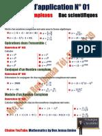 Série d'application N 01 Nombres Complexes  (Bac Scientifiques)
