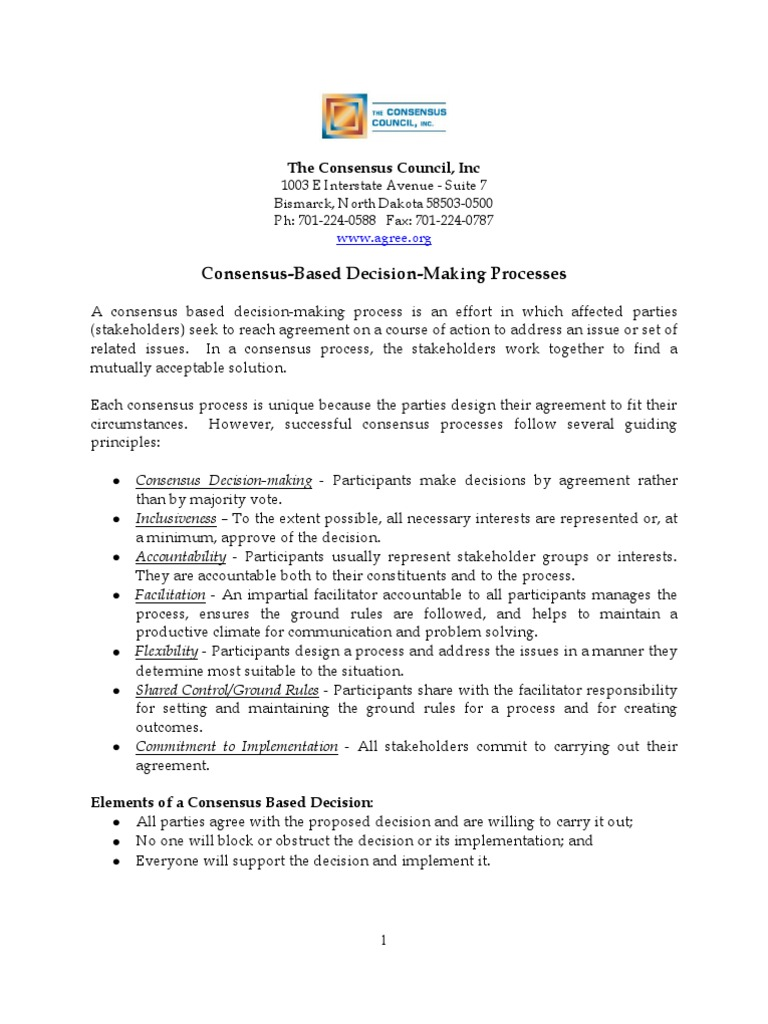Consensus Process Consensus Decision Making Facilitator
