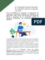 Participa en la Comunidad virtual de docentes productores de contenidos educativos digitales
