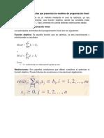 Características generales que presentan los modelos de programación lineal