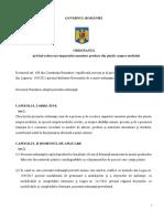 Proiectul de ORDONANȚĂ privind reducerea impactului anumitor produse din plastic asupra mediului: