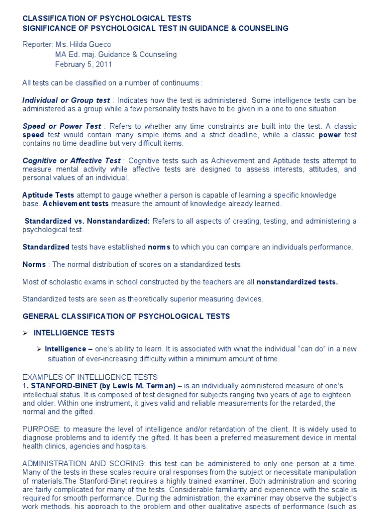 Classification Of Psychological Tests 2 Psychological Testing