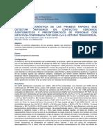 Precisión diagnóstica de las pruebas rápidas que detectan antígenos en contactos cercanos asintomáticos y presintomáticos de personas con infección confirmada por SARS