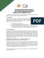 IPSF - WHO Tobacco Free Initiative Internship Call - Summer/Autumn/Winter 2011