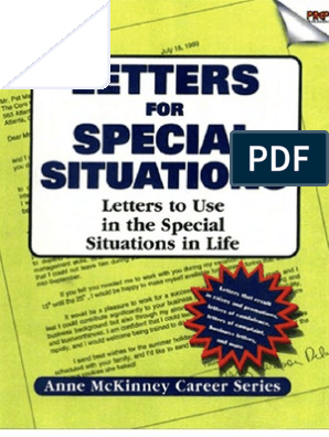Letters For Special Situations Letters to use in the special ...