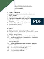 CUESTIONARIO PARA EL EXAMEN FINAL DE DERECHO PENAL I