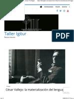 César Vallejo la materialización del lenguaje y la memoria. Por Miguel Ángel Zapata - Taller Igitur