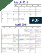 2011 Calendar (Mar, Apr, May & Jun)