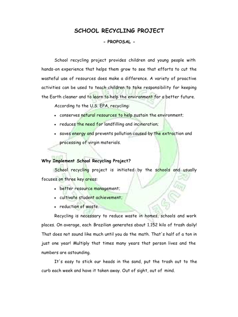 School Recycling Project Proposal Recycling Landfill
