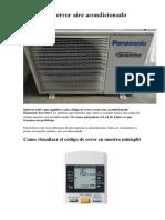 Codigos de error aire acondicionado Panasonic
