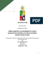Análisis comparativo a las metodologías de creación y produccion de los diseñadores teatrales en los distintos formatos escenicos en chile