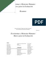Resumen Ecosistemas y Bienestar Humano El marco de la Evaluación
