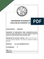 SEMINARIO DE GRADUACIÓN, CONFLICTOS SOCIO-TERRITORIALES Y POLÍTICAS URBANAS. ANÁLISIS DE CASOS EN EL ÁREA METROPOLITANA DE BUENOS AIRES