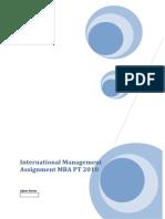 International Management Assignment