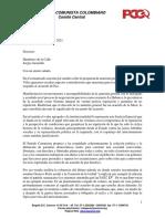 Carta del Partido Comunista a Humberto de la Calle y Sergio Jaramillo