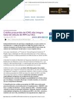 ConJur - Crédito presumido de ICMS não integra base de cálculo de IR ou CSLL