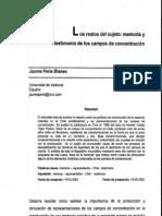 Los Restos Del Sujeto. Sobre Tejas Verdes. Diario de un campo de concentración en Chile (Hernán Valdés). Jaume Peris Blanes