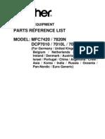parts catalog DCP-7010 MFC-7420