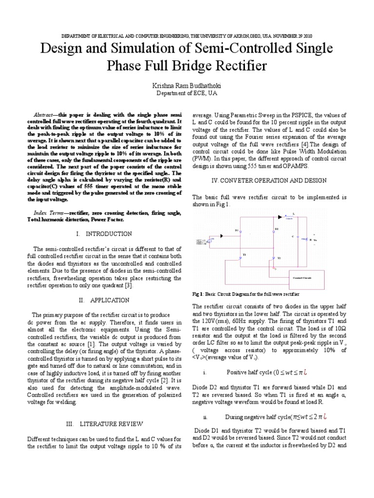 Design And Control Of Semi Controlled Full Wave Rectifier Bridge Power Electronics
