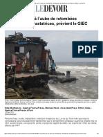 L'humanité est à l'aube de retombées climatiques dévastatrices, prévient le GIEC _ Le Devoir
