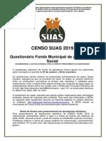 Questionario Fundo municipal - Censo SUAS 2019
