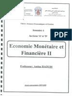 Cours-Economie Monétaire II- Mme Haoudi Amina partie 1 - Amina HAOUDI