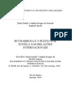 MACEDO SPODE Rui Barbosa e o pleito por justiça nas relações internacionais