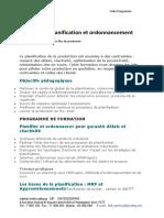 Fiche Programme Planification Ordonnancment