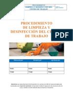 SST-P-01-Procedimiento de Limpieza y Desinfección, Ver 01