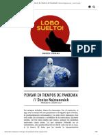 PENSAR EN TIEMPOS DE PANDEMIA __ Denise Najmanovich – Lobo Suelto!