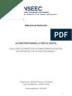 Mémoire de recherche - INSEEC SBE - La fonction finance à l'ère du digital