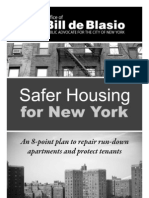 Public Advocate Bill de Blasio's Safer Housing for New York Plan
