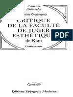 Louis Guillermit - Critique de la faculte de juger esthetique de Kant (1979)