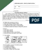 AVALIAÇÃO DE PORTUGUÊS E MATEMÁTICA 4º ANO