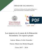 2018_TFG_Las mujeres en el canon de la Educación Secundaria. Un espacio propio