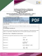 Guía de actividades y rúbrica de evaluación - Fase 1 - Conceptos previos para el Cálculo Integral