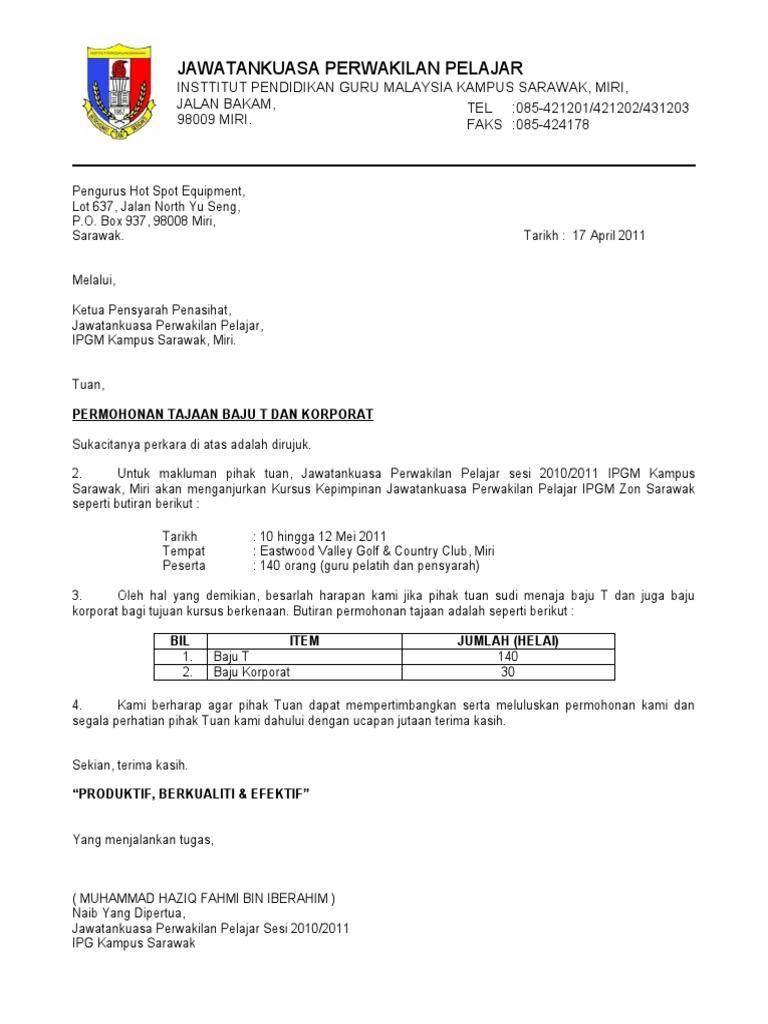 contoh surat rasmi melalui ketua jabatan rasmi b