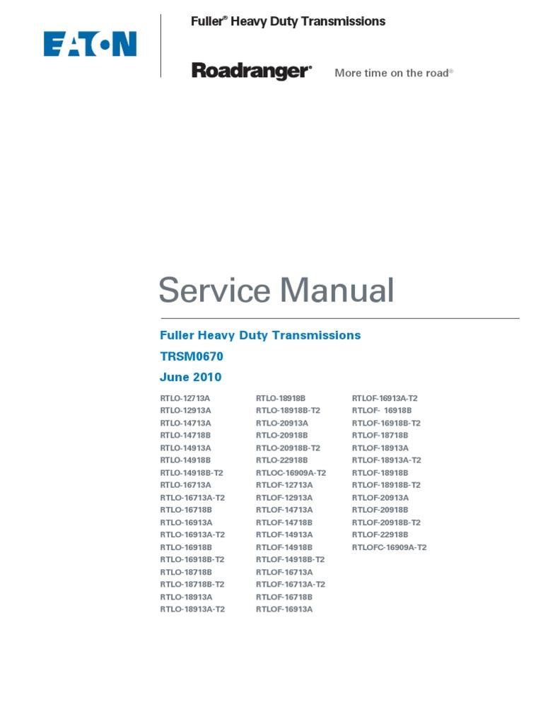 18 speed roadranger manual transmission transmission mechanics rh scribd com
