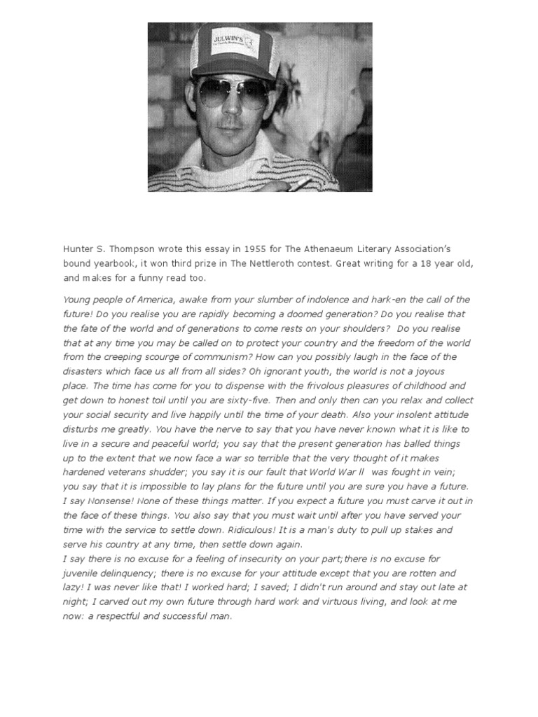 hunter s thompson essay to youth