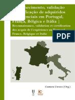 Reconhecimento, validação e certificação de adquiridos experienciais em Portugal, França, Bélgica e Itália