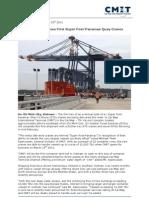 Vietnam Receives First Super Post Panamax Quay Cranes - CMIT