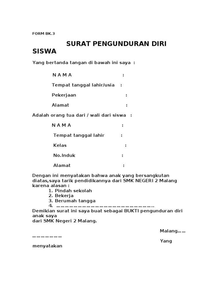 Format Surat Pindah Sekolah Altin Northeastfitness Co