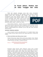 Ukuran Gejala Pusat (Mean, Median Dan Modus) Untuk Data Tunggal Dan Data Bergolong
