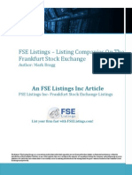 FSE Listings Listing Companies on the Frankfurt Stock Exchange
