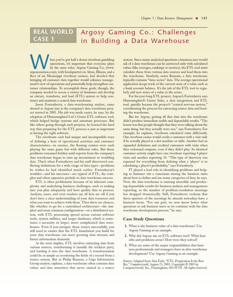 case study 5 | Data Warehouse | Information Technology Management