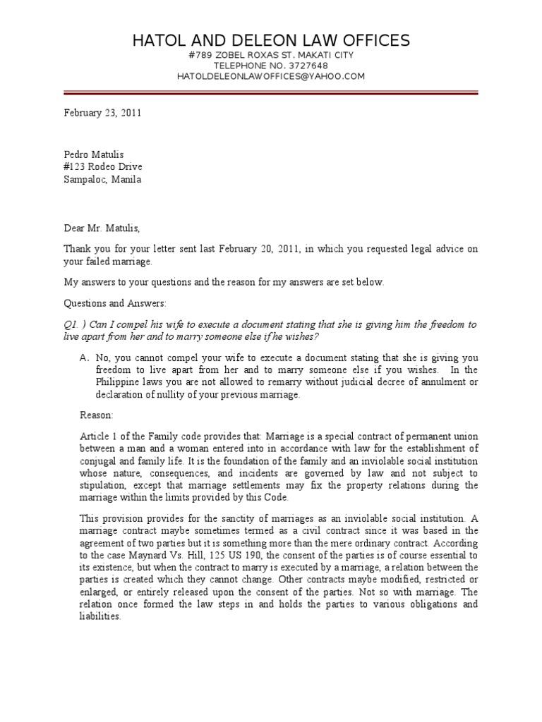 legal advice letter sample Marriage – Legal Letter Format Sample