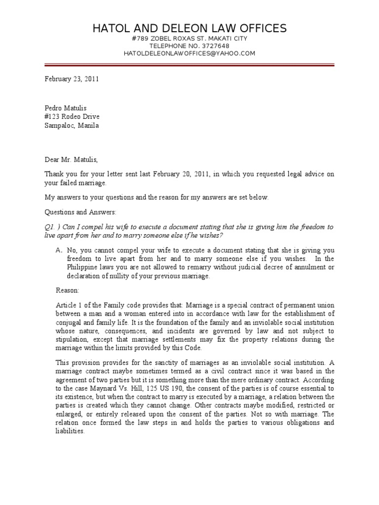 Legal advice letter sample marriage wife altavistaventures Choice Image