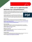 Fiche-conseils sur la cybersécurité  destinée aux consommateurs