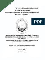 Mejoramiento de La Gestion de Los Equipos Medicos en El Hospital San Jose Del Callao
